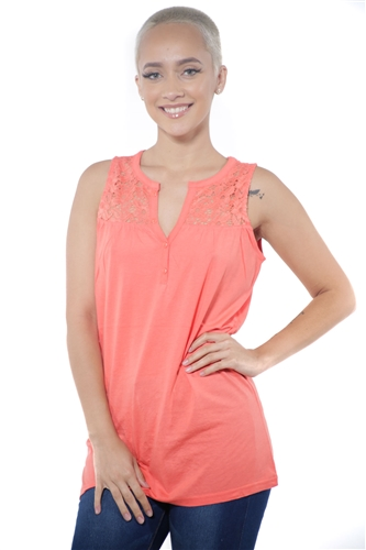 3097N-3414-Coral-Women's V Neck Floral Lace Sleeveless Top / 2-2-2