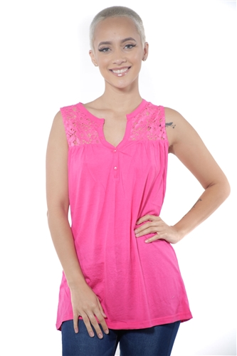 3097N-3414-Fuchsia-Women's V Neck Floral Lace Sleeveless Top / 2-2-2