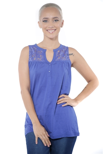 3097N-3414-Ink Blue-Women's V Neck Floral Lace Sleeveless Top / 2-2-2