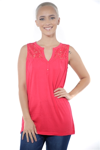 3097N-3414-Red-Women's V Neck Floral Lace Sleeveless Top / 2-2-2