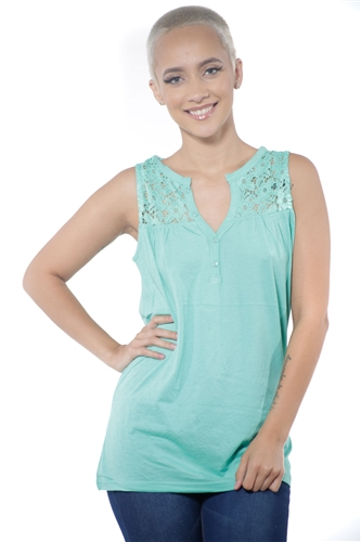 3097N-3414-Spearmint-Women's V Neck Floral Lace Sleeveless Top / 2-2-2