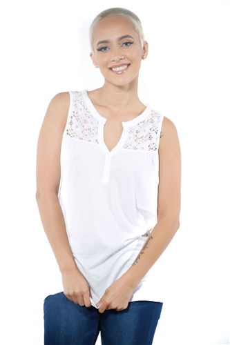 3097N-3414-White-Women's V Neck Floral Lace Sleeveless Top / 2-2-2