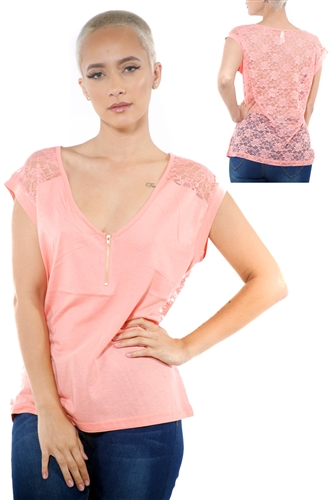3097N-3417-Blush-Women's V Neck Half Zip Back Lace Top/ 2-2-2
