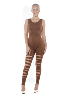 4009N-EUCS01-Toffee-Women's Distress Open Back BodySuit Catsuit/ 10pcs One Size Fits All