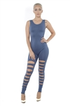 4009N-EUCS01-Washed Indigo-Women's Distress Open Back BodySuit Catsuit / 10pcs One Size Fits All