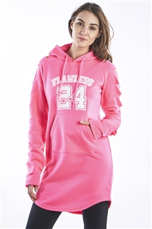Ladies Hollowed Out Shoulder Hooded Mini Dress