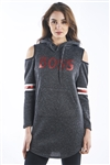 Ladies Hooded Cold Shoulder Mini Dress With Kangaroo Pocket & Embellished w/ Applique