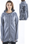 Ladies Gothic Cut Out Fleece Hooded Mini Dress