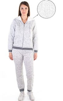 Women's Space Dye, Fur Lined Hoodie and Jogger Set