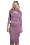 Ladies Rib Keyhole Neck Crop & Skirt Set