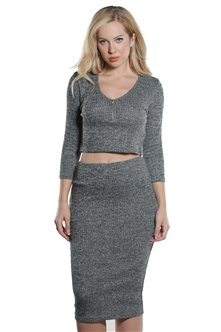 Ladies Rib Mock Neck Crop & Skirt Set