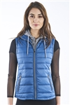 Ladies Melange Flacket Faux Fur Lined Vest w/ Removable Hood & Elastic Side Gathering By Special One