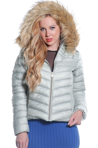 Ladies Packable Faux Puffer Jacket, Fur Lined w/ Removable Oversize Hood & Oversize Fur Trim w/ Special Side Gathering