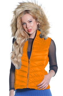 Ladies Packable Faux Puffer Vest, Fur Lined w/ Removable Oversize Hood & Oversize Fur Trim w/ Special Side Gathering