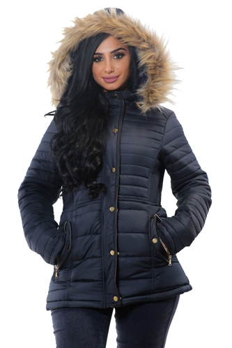 ladies zip up mid length faux fur jacket with suede piping by Special One