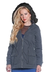 Ladies Faux Fur Lined Peach Skin Jacket w/ Detachable Hood