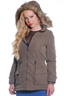Ladies Plus Size Faux Fur Lined Peach Skin Jacket w/ Detachable Hood