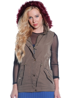 Ladies Faux Fur Lined Peach Skin Vest w/ Detachable Hood