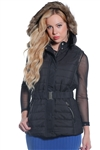 ladies zip up mid length faux fur vest with suede piping by Special One