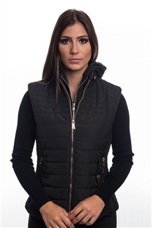 4065N-14222-Black- Ladies Quilted Fur Lined Zip Up Detachable Layered Vest w/ Suede Piping, Side Zippers & Pockets/ 1-2-2-1***Available in Light Blue Color***