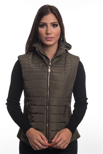 4065N-14222-Dark Olive- Ladies Quilted Fur Lined Zip Up Detachable Layered Vest w/ Suede Piping, Side Zippers & Pockets / 1-2-2-1***Available in Light Blue Color***