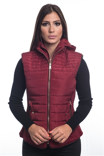 4065N-14222-Dark Red- Ladies Quilted Fur Lined Zip Up Detachable Layered Vest w/ Suede Piping, Side Zippers & Pockets / 1-2-2-1***Available in Light Blue Color***