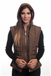 4065N-14222-Khaki- Ladies Quilted Fur Lined Zip Up Detachable Layered Vest w/ Suede Piping, Side Zippers & Pockets / 1-2-2-1***Available in Light Blue Color***