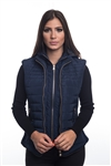 4065N-14222-Navy- Ladies Quilted Fur Lined Zip Up Detachable Layered Vest w/ Suede Piping, Side Zippers & Pockets / 1-2-2-1***Available in Light Blue Color***