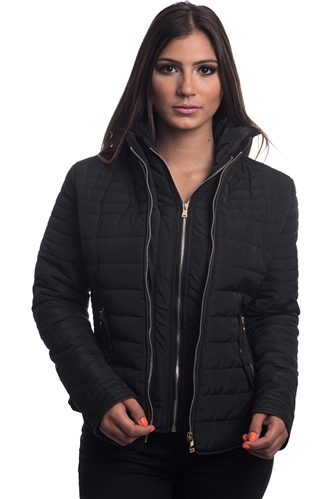 4065N-14223-Black- Ladies Quilted Fur Lined Zip Up Detachable Layered Jacket w/ Suede Piping, Side Zippers & Pockets / 1-2-2-1***Available in Light Blue Color***