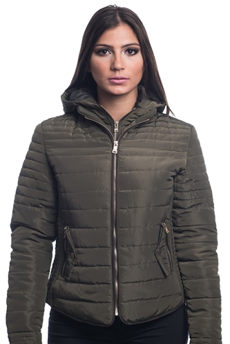 4065N-14223-Dark Olive- Ladies Quilted Fur Lined Zip Up Detachable Layered Jacket w/ Suede Piping, Side Zippers & Pockets / 1-2-2-1***Available in Light Blue Color***