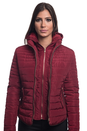 4065N-14223-Dark Red- Ladies Quilted Fur Lined Zip Up Detachable Layered Jacket w/ Suede Piping, Side Zippers & Pockets/ 1-2-2-1***Available in Light Blue Color