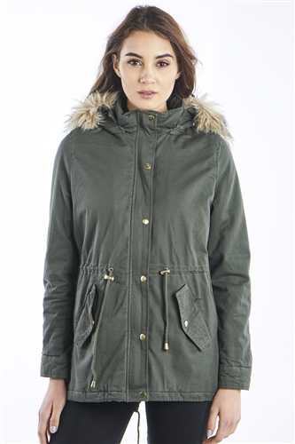 Ladies Faux Fur Detachable Hood Parka Jacket with pockets,  WaistBand Draw String & PU Trim Parka by Special One