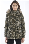 Ladies Camo Faux Fur hood, with pockets, elastic waist bond & PU trim parka jacket by Special One