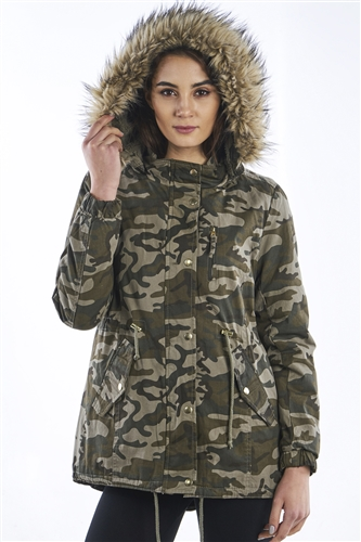 Ladies Camo Faux Fur hood, with pockets, waist draw string & detachable hood parka jacket by Special One