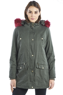 Ladies Faux Fur Detachable Hood Parka Jacket with pockets & WaistBand Draw String Parka by Special One