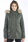 Ladies Faux Fur Hood Parka Jacket with pockets & WaistBand Draw String Parka by Special One