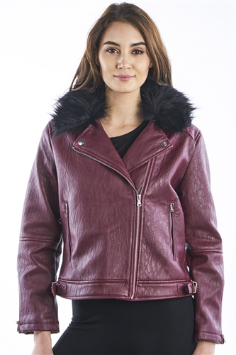 Women's Faux asymmetrical Biker PU Jacket