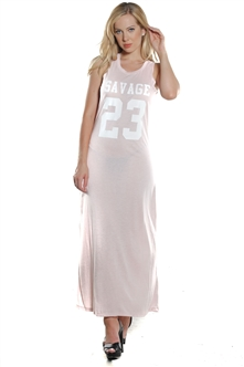 Ladies Stretch Fitted Tank Maxi Dress