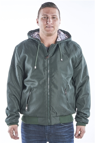 Men's Zip Up Hooded Bomber Jacket