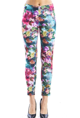 Ladies Floral Scuba Pants with Elastic Waistband