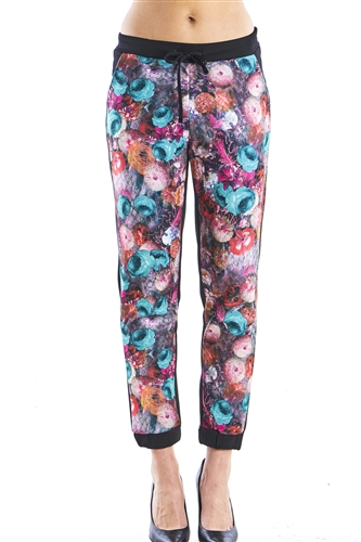 Ladies Floral Scuba Jogger Pants with front pockets and Elastic Waistband