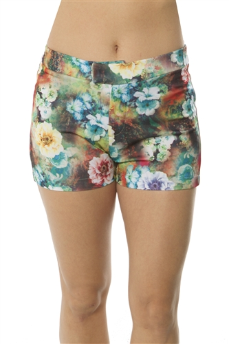 Ladies Zip Up Floral Print Short