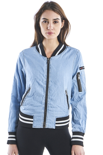 Ladies Zip Up Bomber Jacket w/ 100% Poly Lining, 2Front Pockets & Zip Arm Pocket