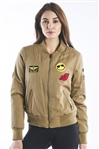 Ladies Zip Up Faux Fur Lined Bomber Jacket w/ Applique, 2Front Pockets & Zip Arm Pocket
