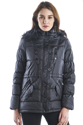 Ladies Belted Zip up Hooded Jacket