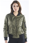 Ladies Zip Up Padded Bomber Jacket w/ Orange Lining, 2Front Pockets & Zip Arm Pocket