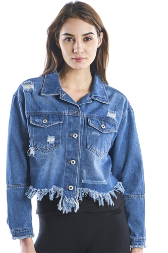 Ladies Plus Size Button Down Denim Jacket