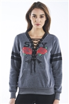 Ladies Fleece Lace Up Pull Over Sweatshirt w/ Pockets & Embellished w/ Applique