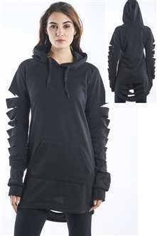 Ladies Hollowed Out Shoulder Fleece Hooded Mini Dress