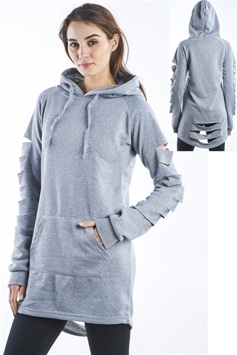 Ladies Plus Size Hollowed Out Shoulder Fleece Hooded Mini Dress